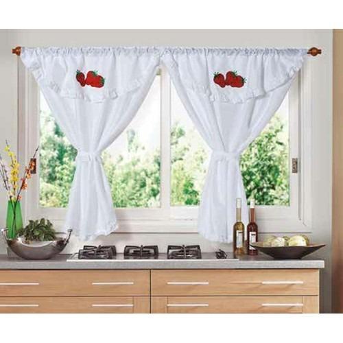 juego de cortinas cocina 2 paños fg bando bordado frutilla