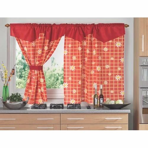 juego de cortinas cocina 2 paños fg estampa cantaro bando