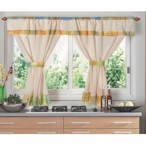 juego de cortinas cocina  ambiente corta marga 2 paños fg
