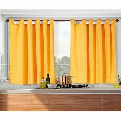 juego de cortinas corta 2 paños motita cocina ambiente