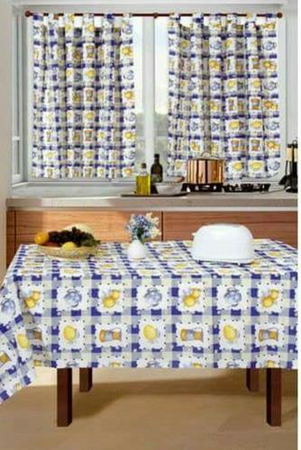 juego de cortinas de cocina con mantel rectangular