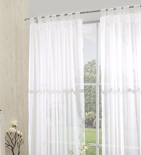 Juego de cortinas traslucidas blancas de tergal for Cortinas blancas