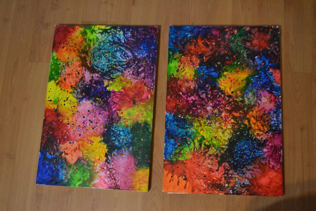 Juego de cuadros hechos con cera de colores en - Cuadros de colores ...