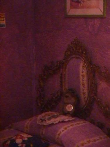 juego de cuarto de hierro y marmol con lampara de bronce