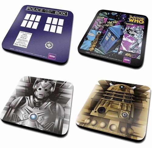 juego de cuatro posavasos diferntes motivos doctor who