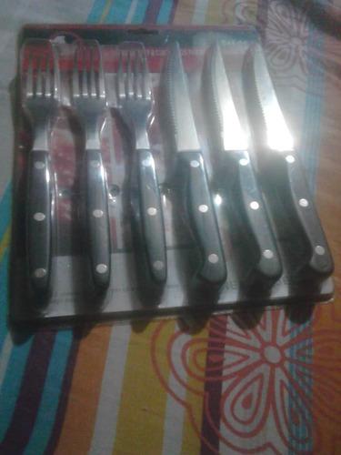 juego de cubiertos de 12 piezas 6 tenedores 6 cuchillos