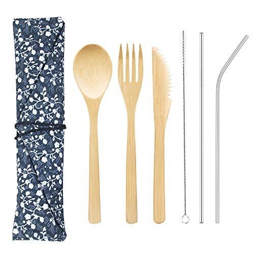 juego de cubiertos de bambú con limpiador y pajita de metal
