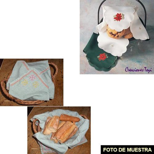 juego de cubre pan de tela bordado