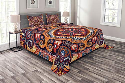 juego de cubrecama ambesonne paisley king size, alfombra orn