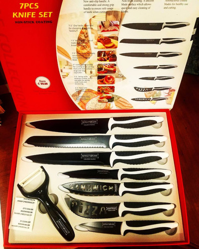 juego de cuchillos de 7pzs y pelador de vegetales