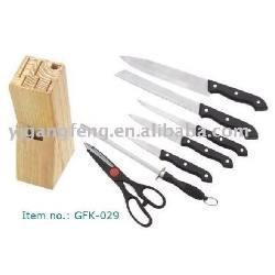 juego de cuchillos tijeras con portador de madera