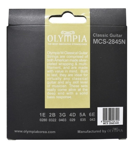 juego de cuerdas guitarra clasica olimpia 28-45 pro nylon