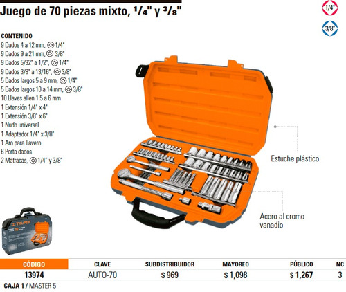 juego de dados 70 piezas, mm y pulgadas, ratche 3/8, truper