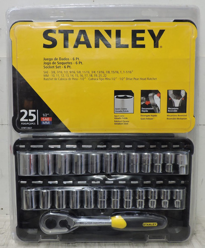 juego de dados y matraca de 25 pzs stanley stmt72657