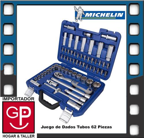 juego de dados y tubos 62 piezas michelin