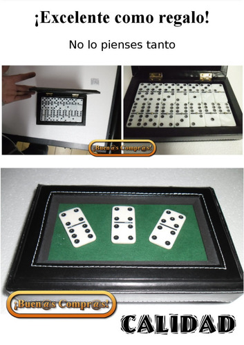 juego de dominó estuche negro en cuero