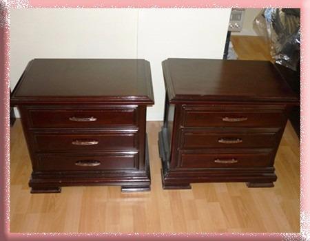 juego de dormitorio elegante madera fina como nuevo 2 plazas