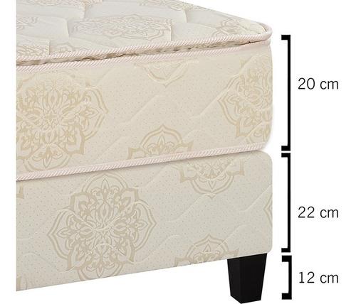 juego de dormitorio sommier 2 plazas colchón respaldo divino