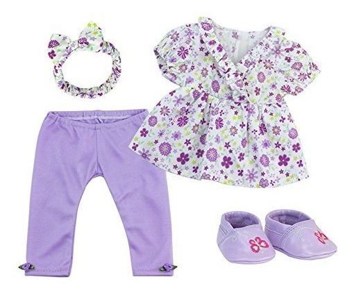 "Sophia/'s Baby 15/"" Doll Twin Set with Two Complete Outfits of Floral Print and"