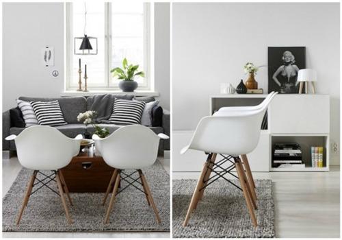 juego de dos sillas eames con posabrazo