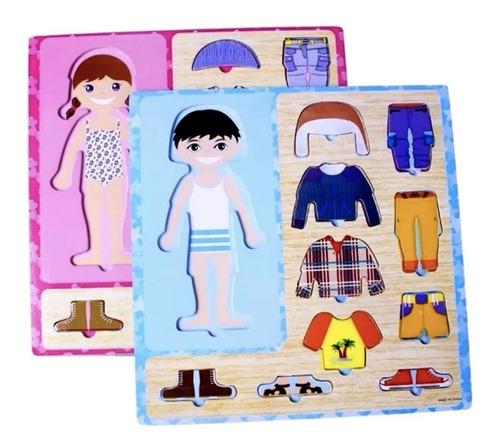 juego de encastre madera para cambiar ropa nena nene niño