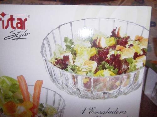 juego de ensaladera y 4 potes de vidrio nuevo en caja !!!
