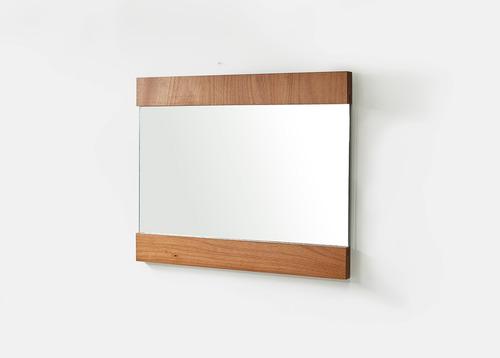 juego de espejo y repisa de 120 cm color natural
