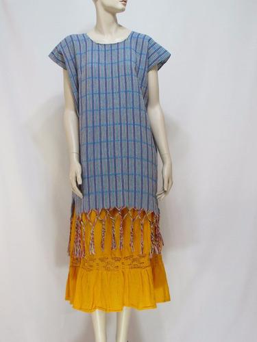 juego de falda amarilla y huipil azul - 124810