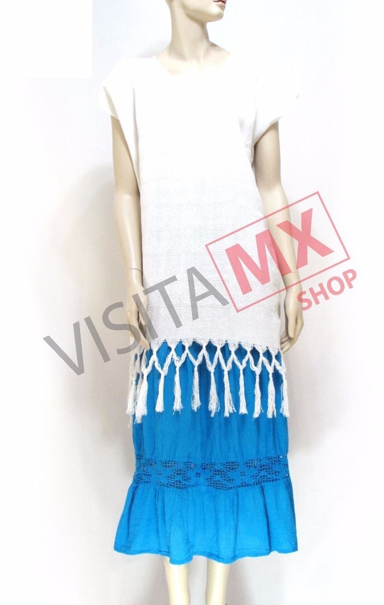 Juego De Falda Azul Y Huipil Blanco - 124811 - $ 549.00 en Mercado Libre