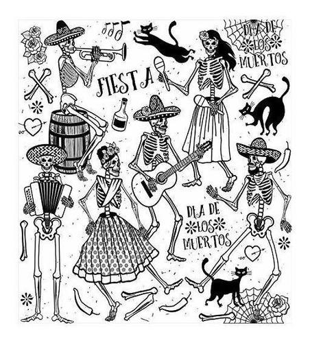 juego de funda nórdica mexicana ambesonne, diseño de música