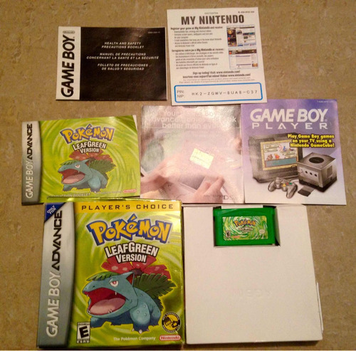 juego de gameboy advance: pokémon leafgreen version