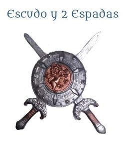 Y Juego Escudo De 2 Color Plata 1 Gladiador Espadas nwk08OP
