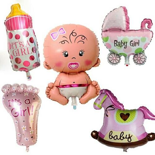juego de globos metalizados baby shower o bienvenida de bebe