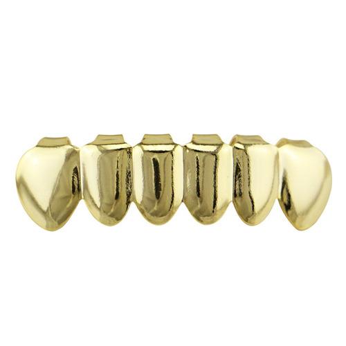 juego de grillz plateado en oro para dientes de hip hop