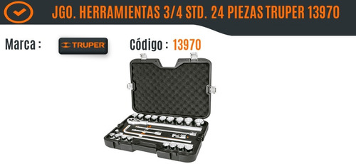juego de herramientas cuadro de 3/4 24 pz std truper 13970
