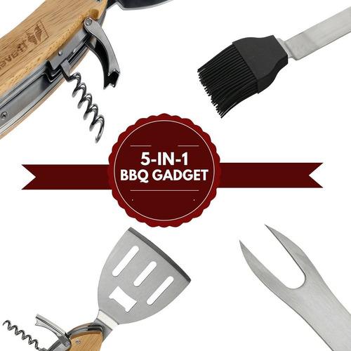 juego de herramientas de barbacoa 5 accesorio + envio gratis