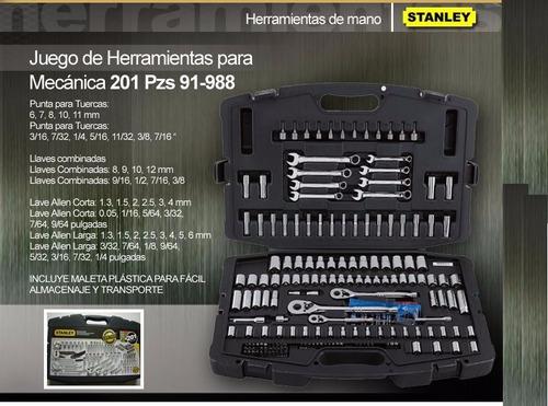 juego de herramientas mecánicas 201 pzs stanley 91-988 dados