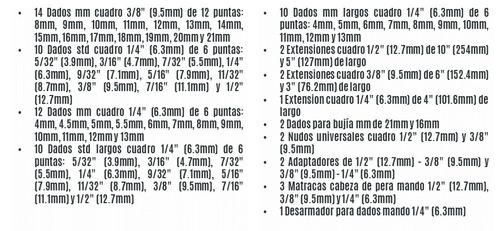 juego de herramientas mixto 199 piezas truper 12894