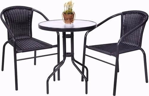 juego de jardín 2 sillas ratan y mesa de vidrio muebles web