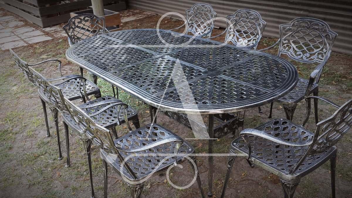 Juego De Jardín De Aluminio Chateaux Mesa Oval Y 8 Sillones ...