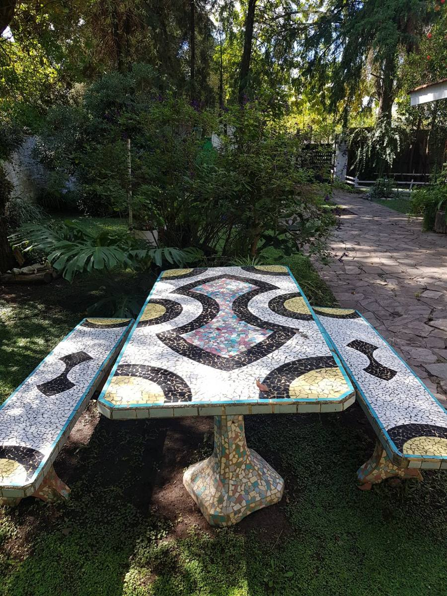 Juego De Jardin De Cemento Y Azulejos - $ 7.000,00 en Mercado Libre