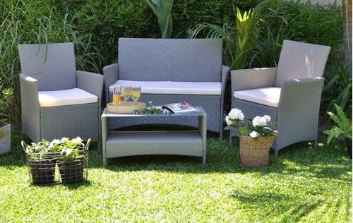 juego de jardín de ratan modelo ollie mesa + sillones