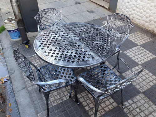 juego de jardín en fundición de aluminio, modelo chateau