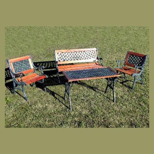 juego de jardin fundicion de aluminio y madera 4 piezas !