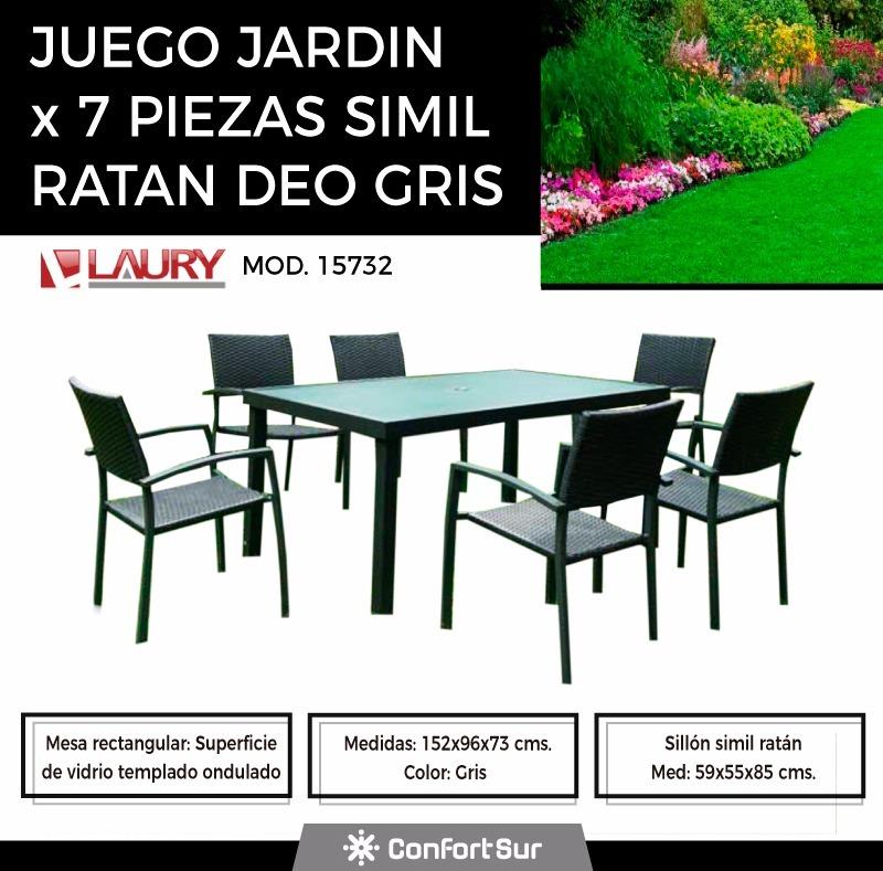 Juego De Jardin Laury Deo Mesa Vidrio Sillas Sim Ratan #6 - $ 23.903 ...