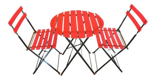 juego de jardín plegable 100% color fluo mesa con 2 sillas