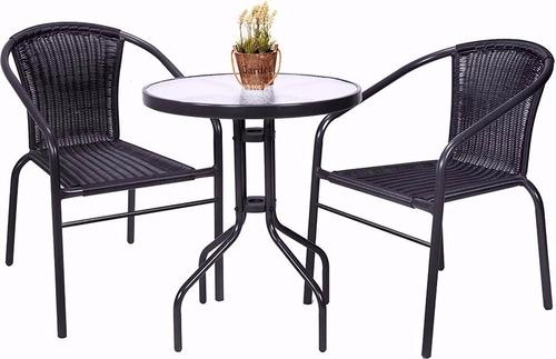 juego de jardin set rattan 2 sillas + mesa sensacion