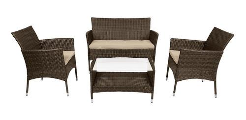 juego de jardin sillas sillones mesa 4 pzas simil ratan