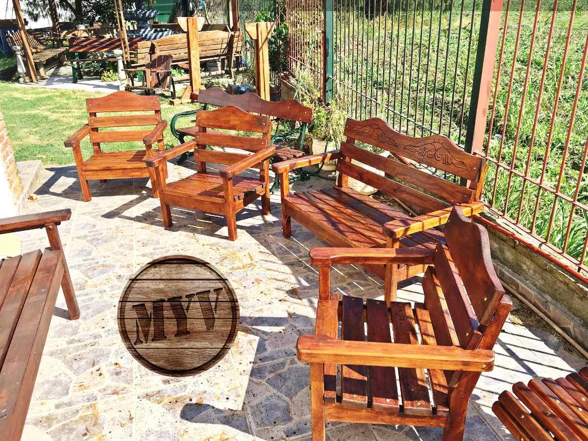 Juego de jardin sillones mesa madera descanso patio for Sillones de madera para jardin
