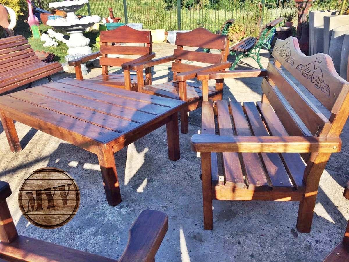 Juego de jardin sillones mesa madera descanso patio for Sillones de jardin de madera